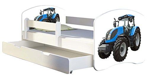 Kinderbett Jugendbett mit einer Schublade und Matratze Weiß ACMA II 140 160 180 40 Design (180x80 cm + Bettkasten, 42 Traktor)