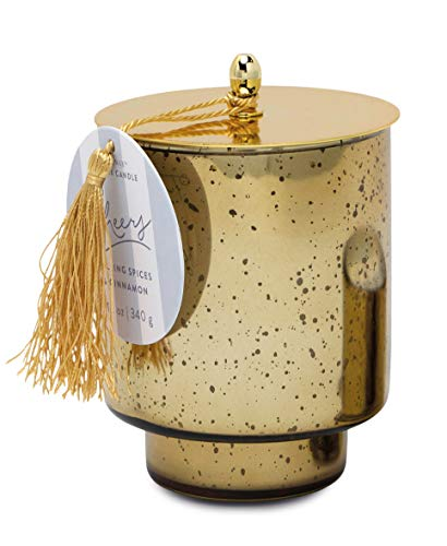Paddywax Candles Tinsel Collection Scented Candle, 12-Ounce, Gold - Cheers (Mulling Spices & Cinnamon)