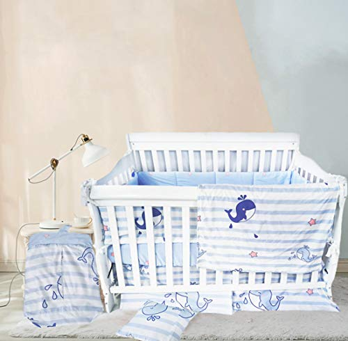 Ustide Crib Nursery Bedding Bumper Baby Boy Nursery Bedding Set 100% Cotton Girls Boys Newborn Cradle Bedding Set Whale Print Baby Cot Bedding Set 9 Pieces