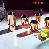 Beautify Schnapsgläser, Rotgold, bruchsicherer Edelstahl, mit doppelseitigem Messbecher,  4 Stück - 5