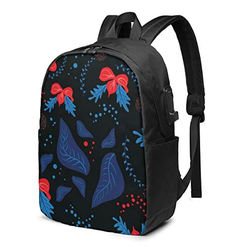 Botanical Motifs with in Style Laptop Backpack,17 Inch Stylish College School Backpack with USB Charging Port, Casual Daypack Laptop Backpack for Unisex/Business/Travel