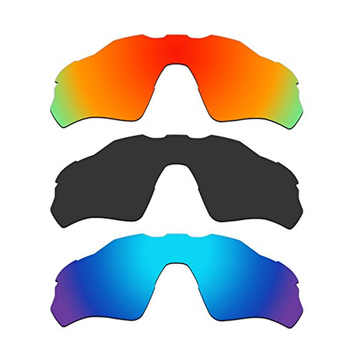 3 Pair ACOMPATIBLE Replacement Polarized Vented Lenses for Oakley Radar EV XS Path (Youth Fit) Sunglasses OJ9001 Pack P1