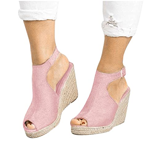 Aniywn Womens Alpargata plataforma cuña sandalias tobillo tiras peep toe slingback tacón alto verano sandalias