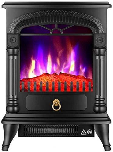 Elektroherd 2000 W realistische 3D-Flammeneffekt Sicherheitsthermostat Kamin Heizung Holzflammeneffekt dreiseitige Glas freistehende Kamine 3-Farben-Flammen