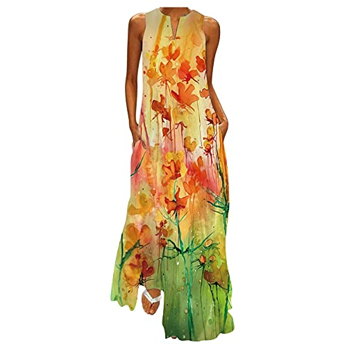 Womens Sleeveless Long Dresses, Painted Flower Landscape Printing Small V Neck Loose Pockets Maxi Dress