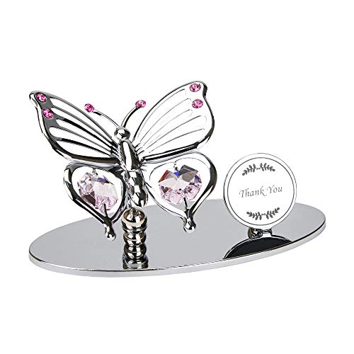 Haysom Interiors Silver Plated Metal Butterfly Thank You Ornament with Pink Swarovski Crystal Glass | Beautiful Gift Idea