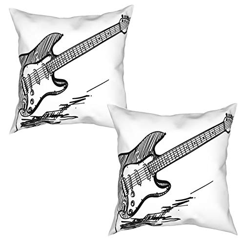 Pack de 2 fundas de almohada,Guitarra eléctrica de estilo dibujado a mano...