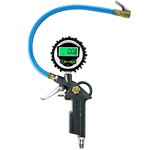 Vintoney Medidor de presión de neumáticos,manometro presion neumaticos, Manómetro Digital 255 psi con Pantalla LCD, Manómetro de Neumáticos para Coche Moto Bicicleta y Camión
