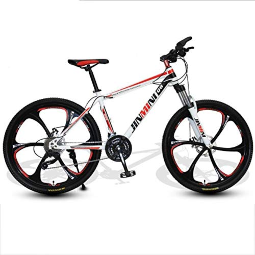 Kays Mountain Bike, Men/Women MTB Bicycles,Carbon Steel Frame,Front Suspension And Dual Disc Brake,26 Inch Mag Wheels (Color : White+Red, Size : 21 Speed)