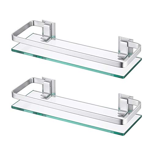 Amazon Brand - Umi Estanterías para baño Bandeja de Baño Rectangular de Vidrio Templado Cesta de Ducha Organizador de Baño Aluminio 2 paquetes, A4126A-P2