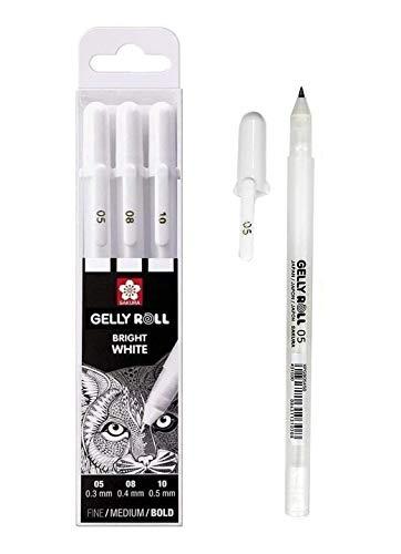 Sakura Gelly Roll Blanco, 4 bolígrafos Bright White en estuche, Mix-Size 05/08//10