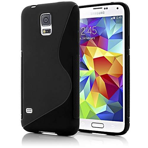 NALIA Handyhülle kompatibel mit Samsung Galaxy S5 S5 Neo, Hülle Ultra-Slim Silikon Case Dünn Crystal Schutzhülle, Etui Handy-Tasche Back-Cover Bumper, Thin Smart-Phone Gummihülle - S-Line Schwarz
