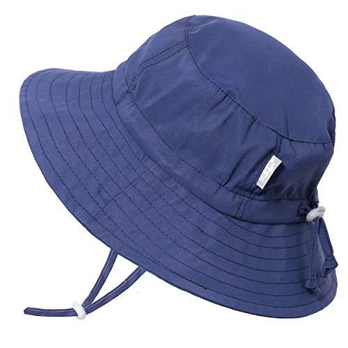 Jan & Jul Kinder Fischer-Hut Jungen Mädchen UV Schutz 50 Kordelzug Größen-verstellbar Einfarbig Sonnenhut Wasser-Spiel (XL: 5-12 Jahre, Marineblau)