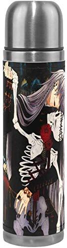 Cheeap-Shop Wunderschön angepasste Saugnapf isoliert Edelstahl Anime Black Butler Wasser Tasse Sport Kaffee Travel Mug Cup Leder Abdeckung doppelwandige Kapazität 17Oz / 500ML