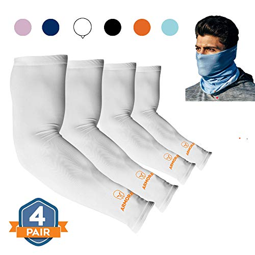 ARMORAY Arm Sleeves for Men or Women Basketball Golf Running Football Cycling (White 4 Pair)