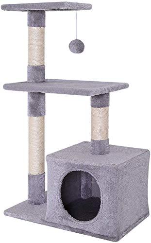 dibea Tiragraffi per gatto albero tiragraffi gatto gioco giocattolo gatti Altezza 85 cm Grigio chiaro