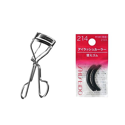 SHU UEMURA EYELASH CURLER 1 EACH WITH 1 FREE SILICONE REFILL & Shiseido Eyelash Curler Sort Rubber 214(2ps/set) [Each of the rubbers fits in well with the eyelash curler] - special offer