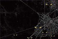 Qinunipoto 背景布 写真撮影用 ハロウィン happy halloween 写真の背景 黒い背景 くもの巣 クモ 吸血鬼の背景 写真館 無反射布 写真 写真背景 人物撮影 背景幕 写真ブース撮影 背景ポスター ビニール 2.5x1.8m