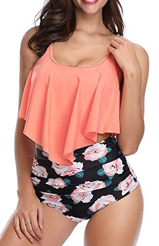 MarinaPrime Bikini Swimsuit for Women Crop Flounce Top with High Waisted Bottom Bodysuits Retro Tankini Sets - L, Orange