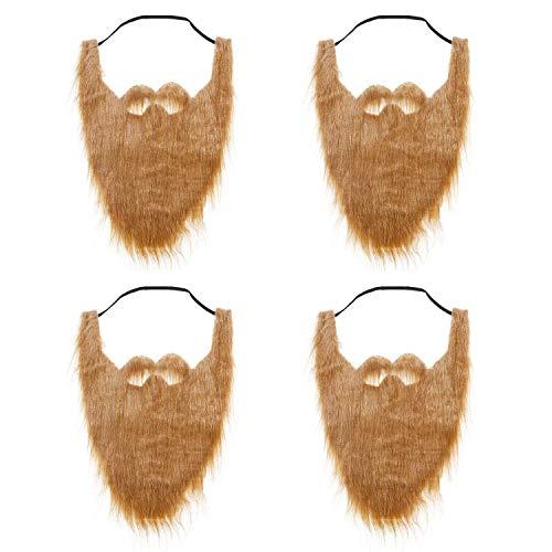 qiaoniuniu Fake Beard for Kids, Brown Full Beard and Mustache Costume Elastic Halloween Facial Hair 4 Pack