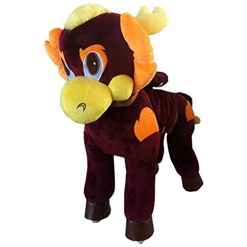 Caballo Mecanico Paseo en el caballo del juguete de la felpa animal que camina Brown dragón, caballo mecedora pequeña for niños Acción Pony caballo paseo en Pony presente caballo for los niños de 3 a