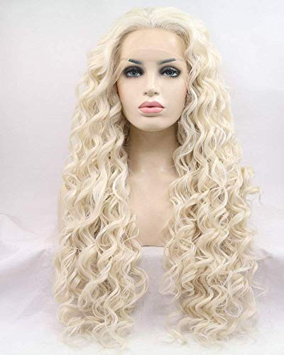 XINGYU Pastel Blonde/Ash Blonde Wigs Perruque sans Colle Partie latérale Synthétique Lace Front Perruques pour Femmes Dames Cosplay Maquillage Drag Queen Long Bouncy Curly Hair