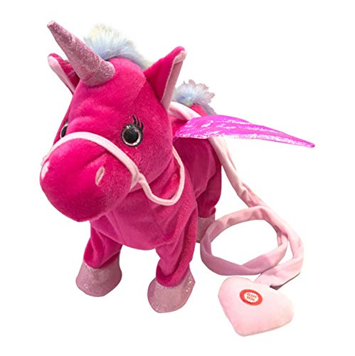 Zingen En Wandelen Paard Elektronische Gevulde Robot Pop, Paarden Elektronische Knuffels, Kinderen Verjaardag Kerstcadeau 35Cm (Rood)