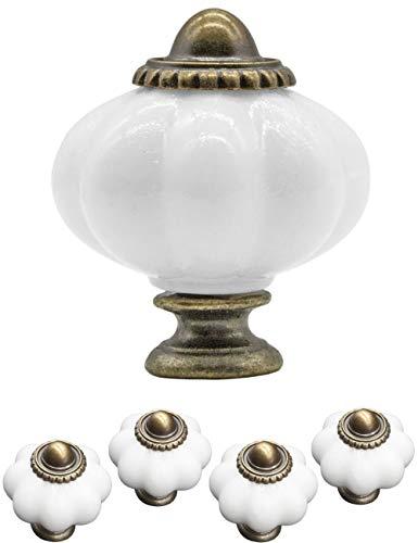 FUXXER® – 4 maniglie per mobili antichi, pomelli per cassetti, stile rustico, vintage, cucina buffet, bronzo e ottone, motivo floreale, in ceramica, 38 x 30 mm, set da 4 viti incluse, bianco