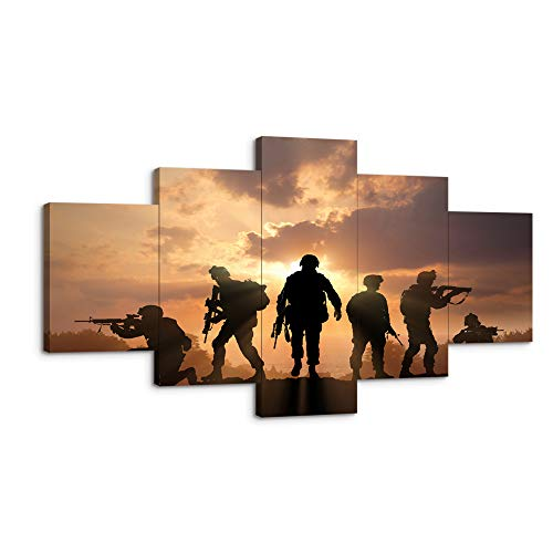 VIIVEI USA US American Military Soldiers Army Police Wall Art Decor Canvas Poster Picture Painting 5 Pieces Framed Canvas Print Home Decor Artwork for Living Room Bedroom HD Printed canvas-60 Wx32 H