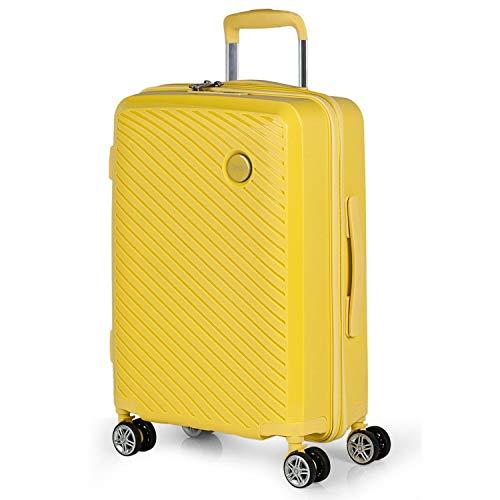 ITACA - Maleta de Viaje Cabina Rígida 4 Ruedas Trolley 55 cm. Polipropileno Equipaje de Mano. Pequeña Cómoda Ligera y Bonita. Low Cost. Candado TSA. 760050, Color Amarillo