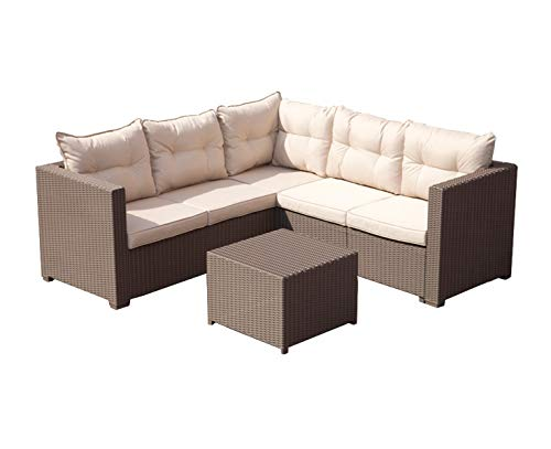 Loungeset Charles PP beige bruin tuinset hoekbank
