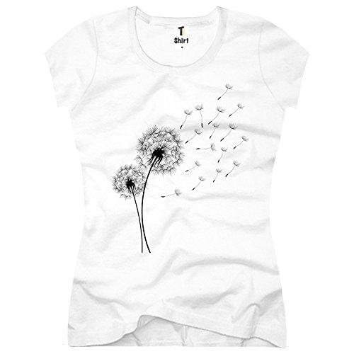 TEE-Shirt, Damen T-Shirt mit Aufdruck Coole Motive. T-Shirt mit Pusteblume, SpruchDruck. Größe M,Weiß