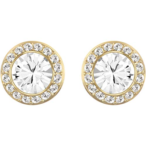 Swarovski Women\'s Angelic Stud Pierced Earrings, Set of White Swarovski Earrings with Gold-tone Plating, part of the Swarovski Angelic Collection