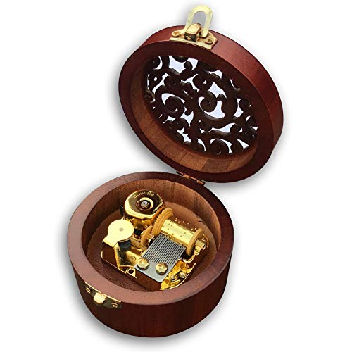 Play (Hedwigs Theme) Brown Wooden Circular Hollow Out Music Box with Sankyo Musical Movement