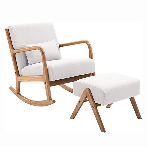 Sillón Mecedora Relax Hogar moderno mecedora, interior o exterior Rocker Sala sofá sillón reclinable, nórdica de madera ocasional sólida simple del estilo chino Única silla (pedal + Mesa de Estilo)