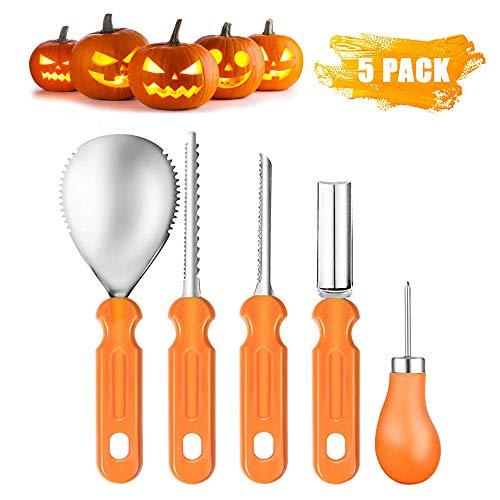 Sunwuun Halloween Kürbis Schnitzset, 5 Stück Edelstahl Kürbis schnitzen Set, Halloween Kürbis Schnitzwerkzeuge für Erwachsene und Kinder