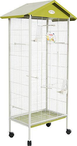 Zolux Jeanne Volière Intérieure/Extérieure pour Oiseau Exotique/Becs Crochus Olive 78 x 48 x 156 cm
