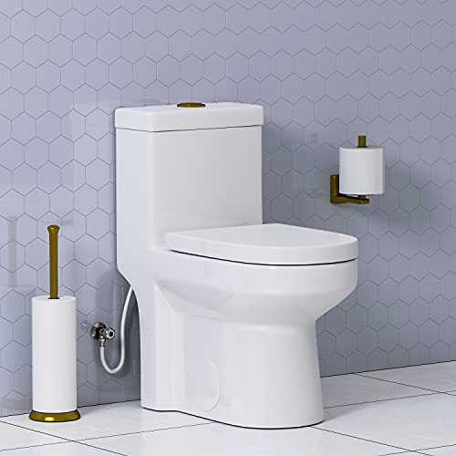 HOROW HWMT-8733G Small Compact Toilet with Gold Button, Dual Flush One Piece Short Bathroom Tiny Mini Toilet Commode Water Closet Concealed Trapway