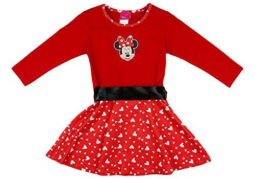 Disney Baby Mädchen Lang-arm Freizeit-Kleid mit schönem Rock mit Minnie Mouse in Gr. 74 80 86 92 98 104 110 116 122,1 2 3 4 5 6 7 Jahre Farbe Modell 14, Größe 116