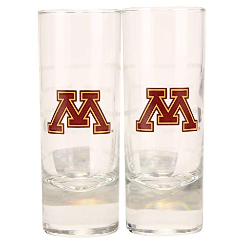 Boelter NCAA Color Team Logo 2oz Cordial Shot Glass 2-Pack (Minnesota Gophers)