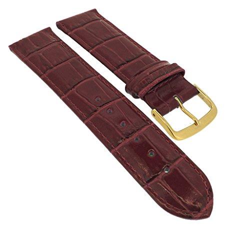 Minott para Banda Reloj de Pulsera 14mm–30mm   Piel Burdeos con Costura y cocodrilo en Relieve 32285s/G, Puente Ancho: 20mm, Cierre: Amarillo Golden