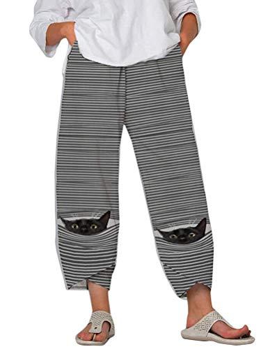 Tomwell Mujer Pantalones de Jogging 7/8 Holgados con Bolsillos Pantalones Yoga Ocio Pantalones Playa con Estampado Animal Cintura Elástica Pantalón Ancho de Verano C Blanco Gato XL