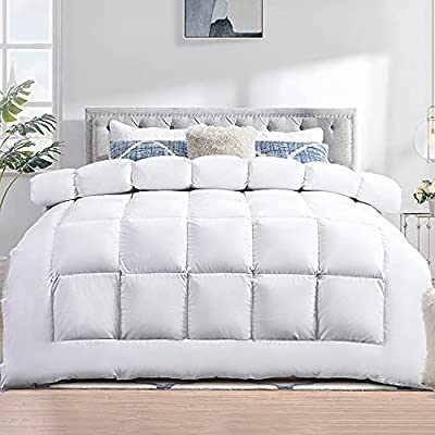 TECHTIC Comforter Duvet Insert Queen Size, Plush White Comforter Down Alternative Quilted Stand Alone Bedding Comforter for All Season, Box Stitched, Machine Washable from TECHTIC