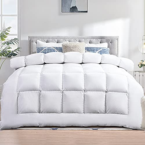 TECHTIC Comforter Duvet Insert Queen Size,Plush White Comforter Down Alternative Quilted Stand Alone Bedding Comforter Box Stitched, Machine Washable