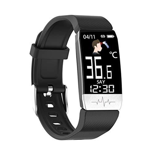 XUEXIU Pulsera Inteligente Tempurature Tempurature Heart Rate Monitor Detectores De Dormir En Tiempo Real Relojes Deportivos De Fitness (Color : Black)
