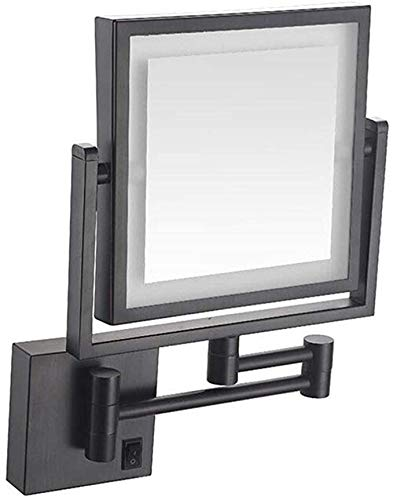 8inch Lighted Bathroom Mirrors Wall Mounted, 5x Magnifying Double-Sided Folding 360° Swivel Makeup Mirror Extendable Beauty Mirror Square,Black