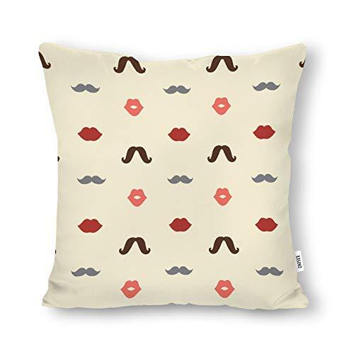 DKISEE Funda de almohada decorativa con patrón de labios y bigotes sin costuras, cuadrada, lona de algodón, funda de cojín lumbar para sofá cama, sofá cama de 66 x 66 cm