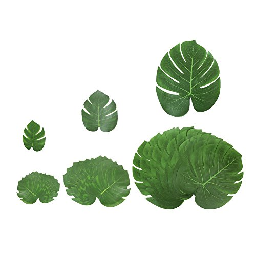 Shintop 36 Stück Tropische Blätter Künstlich für Hawaii Luau Partys, Dschungel oder Strand Themen-Dekorationen für Geburtstage, Hochzeiten, Abschlussbälle, Feste (Groß x 12, Mittel x 12, Klein x 12)