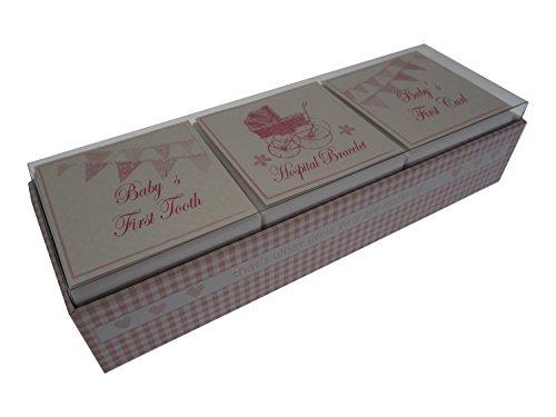 White Cotton Cards Baby's First Curl/bracelet/dent 3 en 1 Boîte souvenir Ensemble (Rose Landau et fanions)