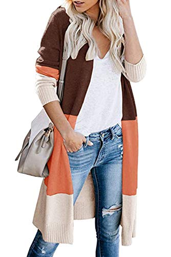 Bequemer Laden Strickjacke Damen Herbst Winter Outwear Casual Gestreift Cardigan Top Warm Bunt Lose Strickpullover Langarm Coat Vordere Leistentaschen Lang Strickmantel,Orange,XL